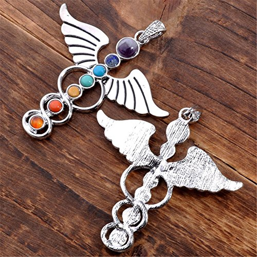 JOVIVI 7 Chakras Natural Quartz Gemstones Beads Pendant Healing Point Chakra Reiki(YOGA&Angel Wings& Holy Sword Style 3pc)