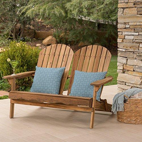 Great Deal Furniture Muriel Outdoor Natural Finish Acacia Wood Adirondack Loveseat