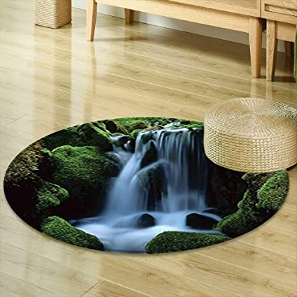 Mikihome Round Rugs For Bedroom Waterfall Decor Collection Flowing Water  From Mountain Stream Moss Covered Stones