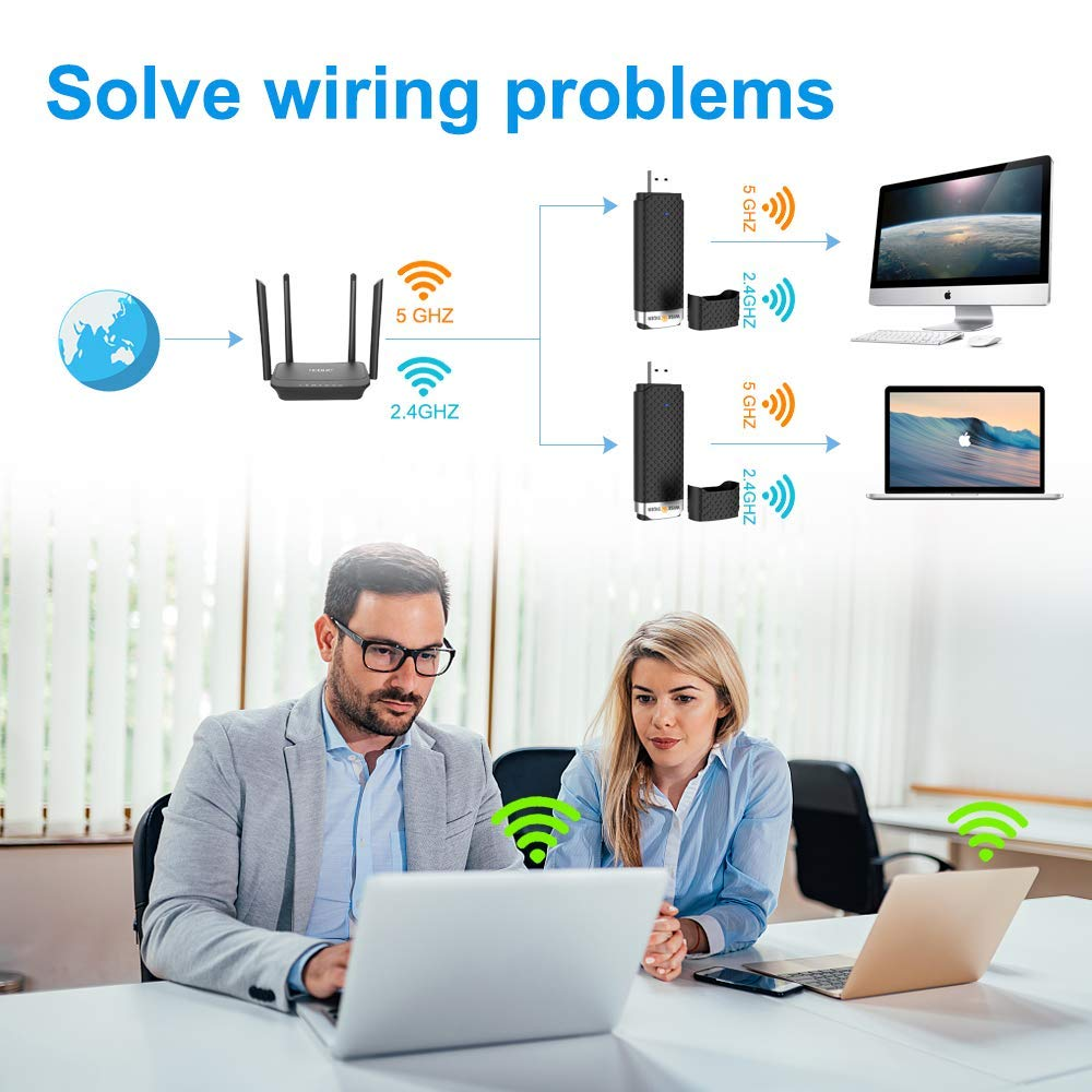 WiFi Adapter for PC, AC1300Mbps High Speed 802.11Ac Gaming Wireless USB Adapter Long Range WiFi USB Dual Band 5G WiFi Dongle for Desktop Laptop, Install Fast, Just 3 Minutes,U Disc Driver Included