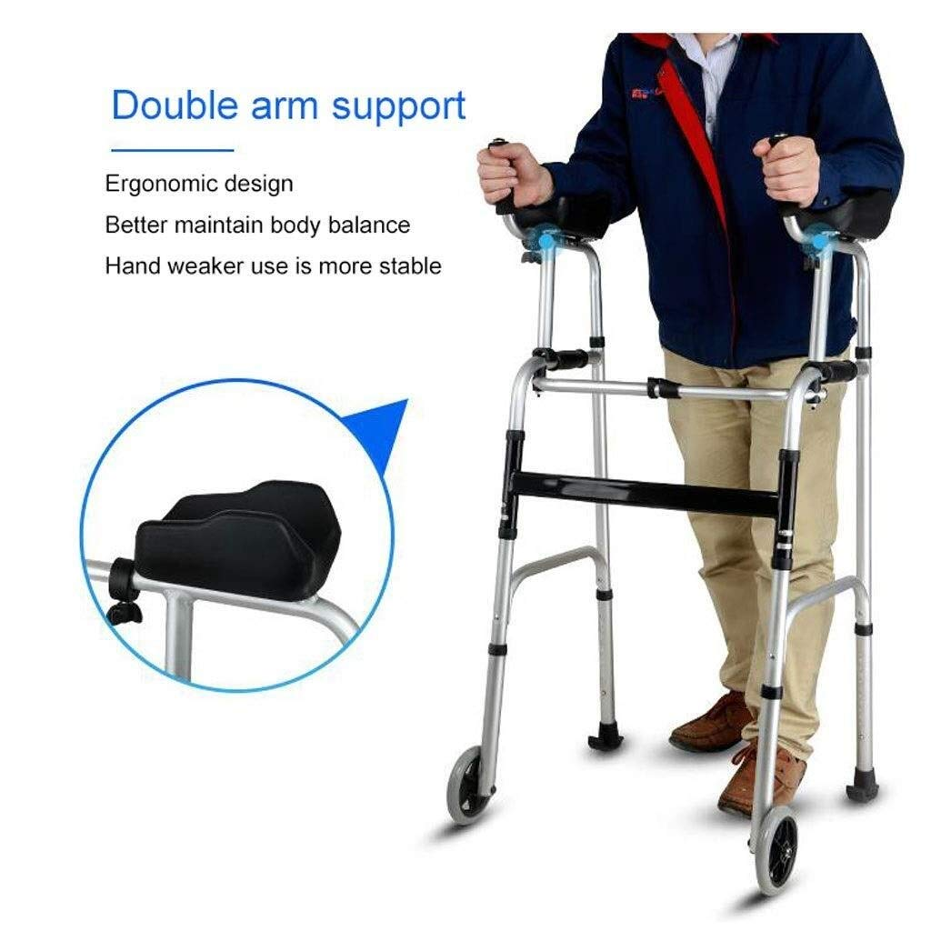 Folding Lightweight Aluminium Walking Frame with Wheels, Ergonomic Handle and Handbag Walking Mobility Aid Auxiliary Walking Safety Walker (Color : Deluxe Version) by YL WALKER (Image #8)