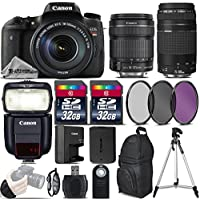 Canon EOS Rebel T6s DSLR Camera + Canon 18-135mm IS STM Lens + Canon 75-300mm Lens + Canon Speedlite 430EX III RT + 64GB Storage + UV-CPL-FLD Filter Kit + Wrist Grip Strap - International Version