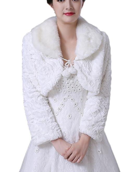 Piel sintética de mujer boda chaleco chaquetas abrigo novia ...