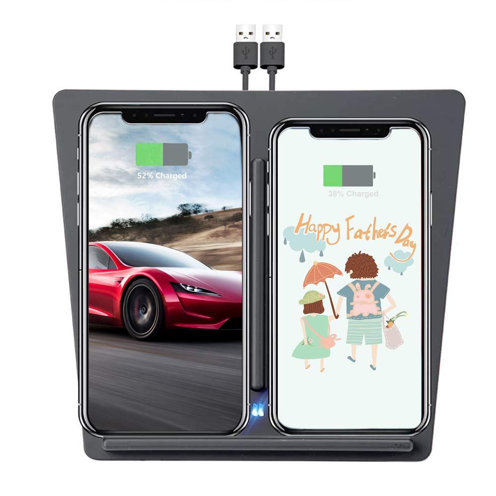 Tesla Model 3 Wireless Charger, Dual QI Wireless Phone Charging Dock Center Console for Tesla Model 3 Accessories