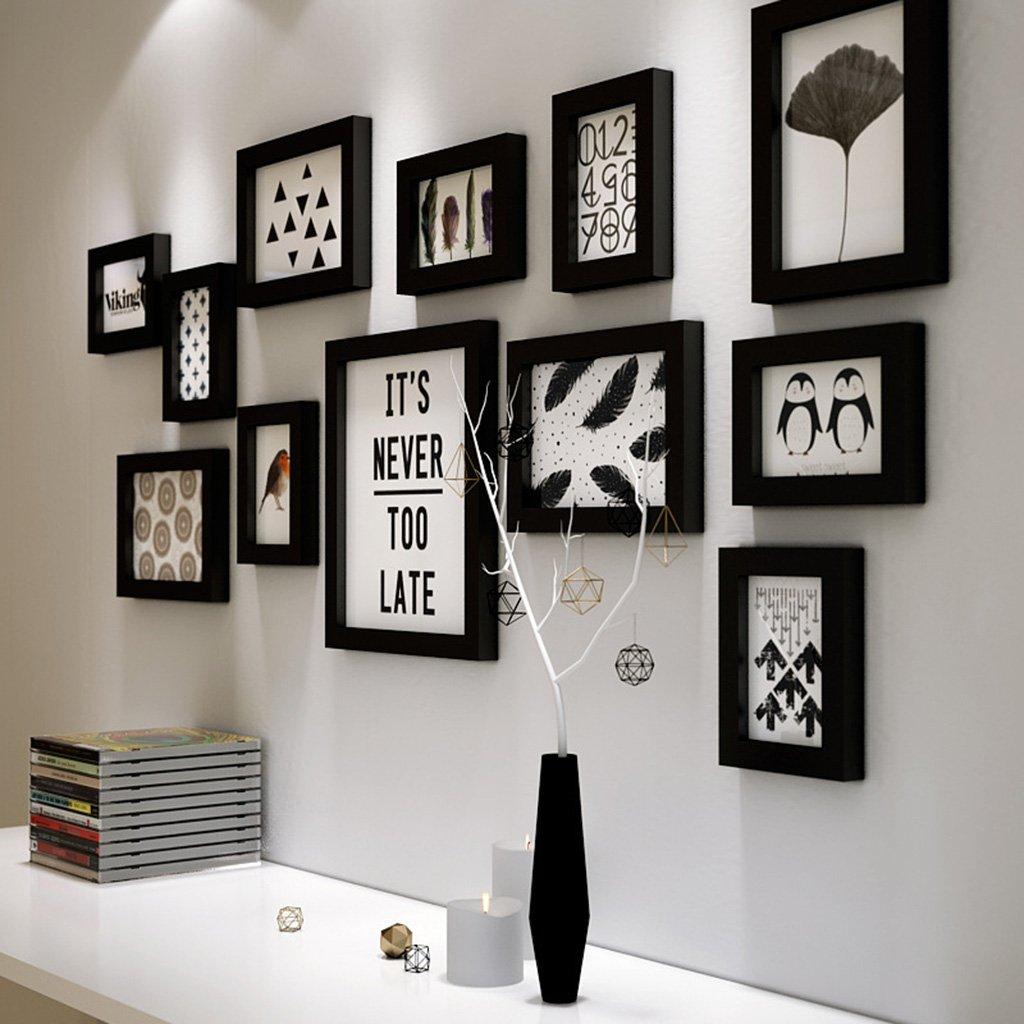 DENGJU Bilderrahmen Schwarz-Weiß-Massivholz Fotowand Wohnzimmer ...