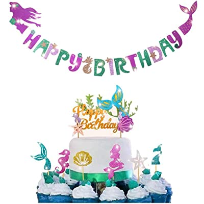 Mermaid party decoration - sparkling mermaid shaped birthday banner +1 mermaid birthday cake Topper and 24 pieces (6 styles) mermaid cupcakes Topper, perfect for birthday parties, baby showers, mermaid themed parties, Under T