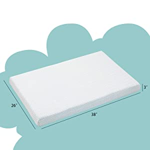 Nicesure Fitted Memory Foam Pack n Play Mattress Pad - Portable Playard Mattresses 38X26x3 with Washable Cover - Dual Sided Mattress - Firm Side for Infants Soft Side for Toddlers