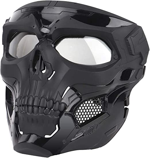 Amazon Com Wosport Skull Airsoft Paintball Mask Full Face Tactical Mask With Eye Protection For Tactical Outdoor Cs Game War Game Ideal Mask For Halloween Cosplay Costume Party And Movie Prop Black