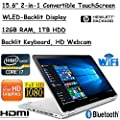 """Newest HP ENVY x360 Convertible 2-in-1 Full HD IPS 15.6"""" Touchscreen Notebook (2018 Edition)   Intel Quad Core i7-8550U Processor up to 4.0GHz   12GB DDR4 RAM   1TB HDD   Backlit Keyboard   B&O Audio"""