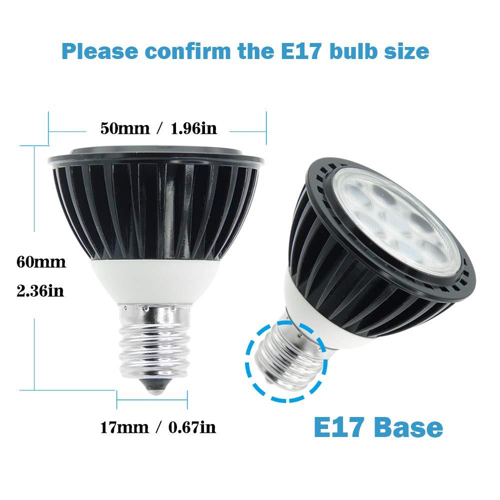 VWV E17 LED Bulb 6W 38 Deg,E17 Base Spotlight,Not-Dimmable 50W Halogen Equivalent Warm White 3000K 2-Pack AC 85V~265V,550LM