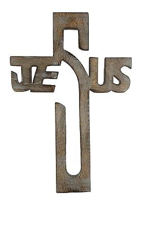 storeindya Pared de Madera Placa de la Cruz Que cuelga con Las Tallas celtas Mano Cruces religiosas Altar con Llavero Cruz Libre decoración para el ...