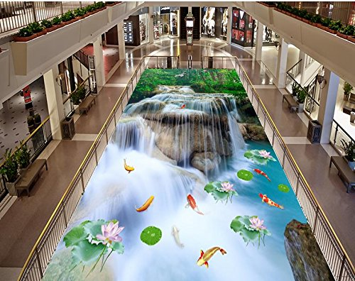 BZDHWWH 3D Flooring Waterfall Lotus Carp Photo Wallpaper for Size Bathroom Living Room Bedroom Lobby 3D Floor Tiles Mural,110Cm X 160Cm by BZDHWWH (Image #4)