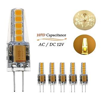 Ralbay G4 LED 12V, 3W G4 Led Equivale a 30W Bombilla Blanco Cálido 3000K AC