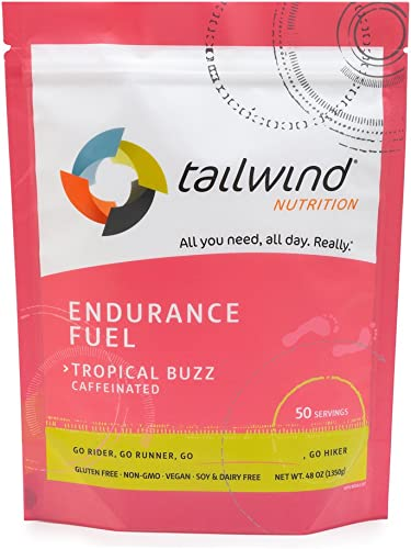 Tailwind Nutrition Caffeinated Tropical Buzz Endurance Fuel 50 Serving – Hydration Drink Mix with Electrolytes, Carbohydrates – Non-GMO, Gluten-Free, Vegan, No Soy or Dairy