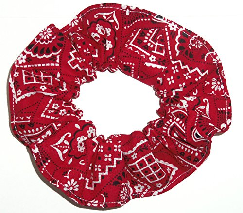 Bandana Print Cotton Fabric Hair Scrunchie Handmade by Scrunchies by Sherry (Red)