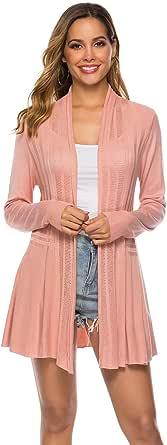 demonlick Women Casual Long Sleeve Lightweight Soft Drage Open Front Knit Cardigan Sweater