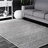 nuLOOM Contemporary Solid Braided Area Rugs, 3' x 5', Light Grey