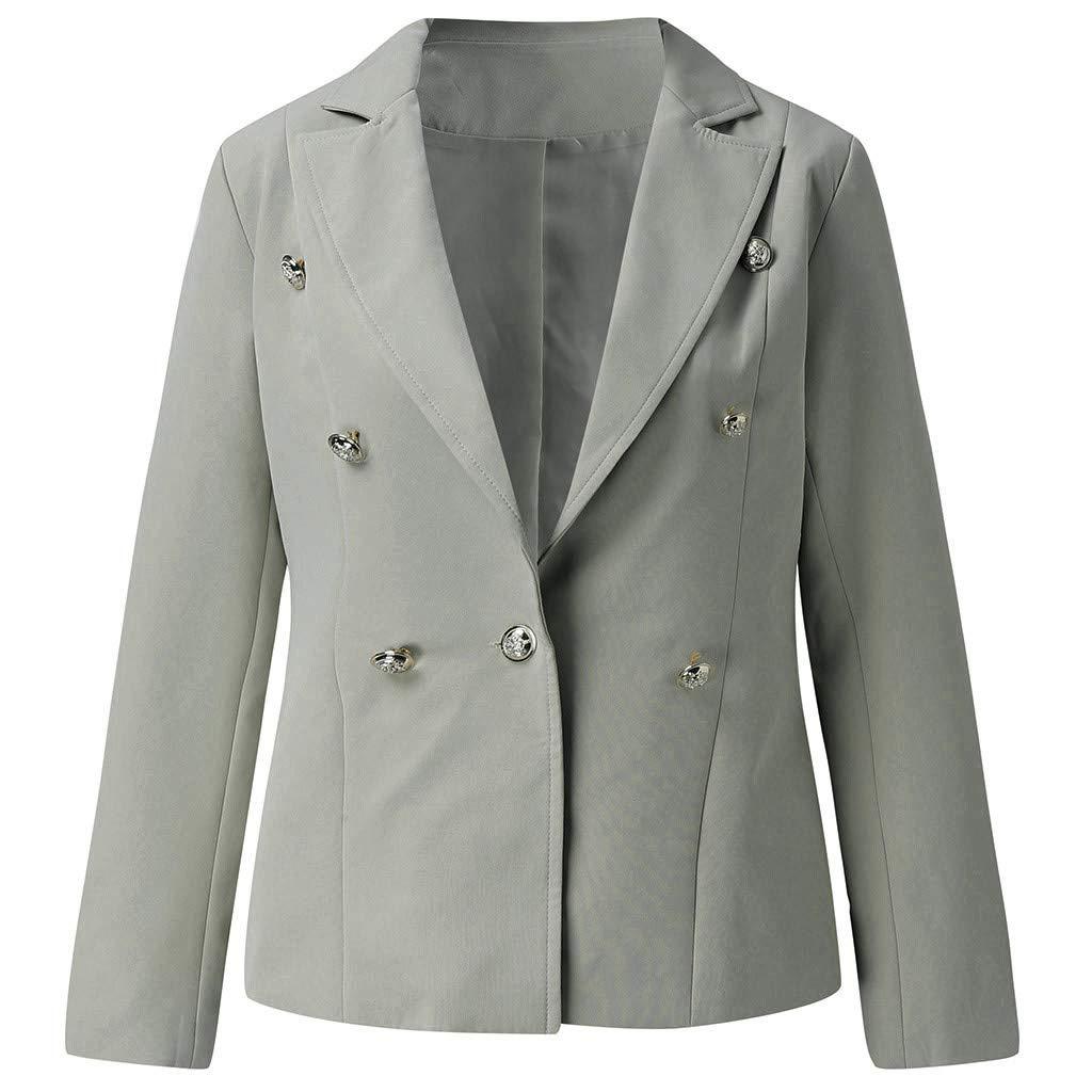 Yezijin Women Loose Blazer Top Long Sleeve Casual Jacket Ladies Office Wear Coat Blouse 2019 New Gray
