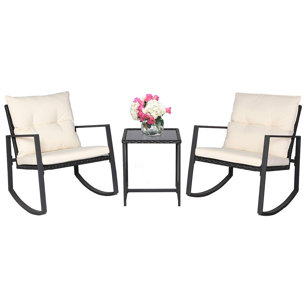 Suncrown outdoor 3 piece rocking wicker bistro set black wicker furniture two chairs with glass coffee table beige white cushion