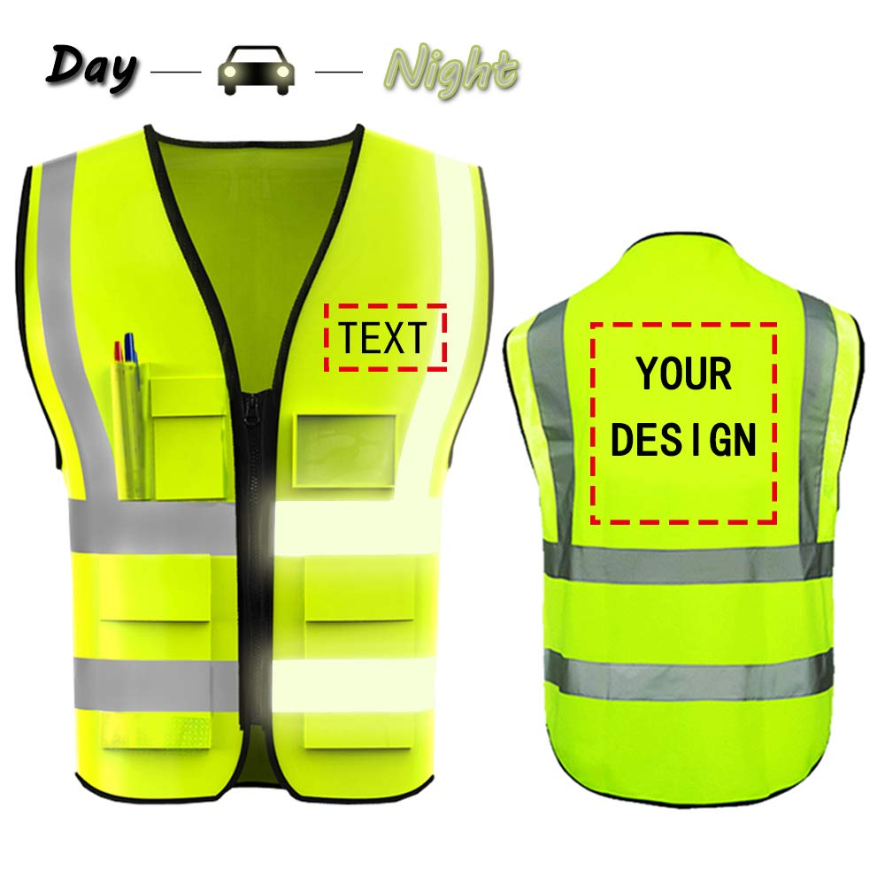 High Visibility Safety Vest Custom Your Logo Protective Workwear 5 Pockets With Reflective Strips Outdoor Work Vest (Neon Yellow)
