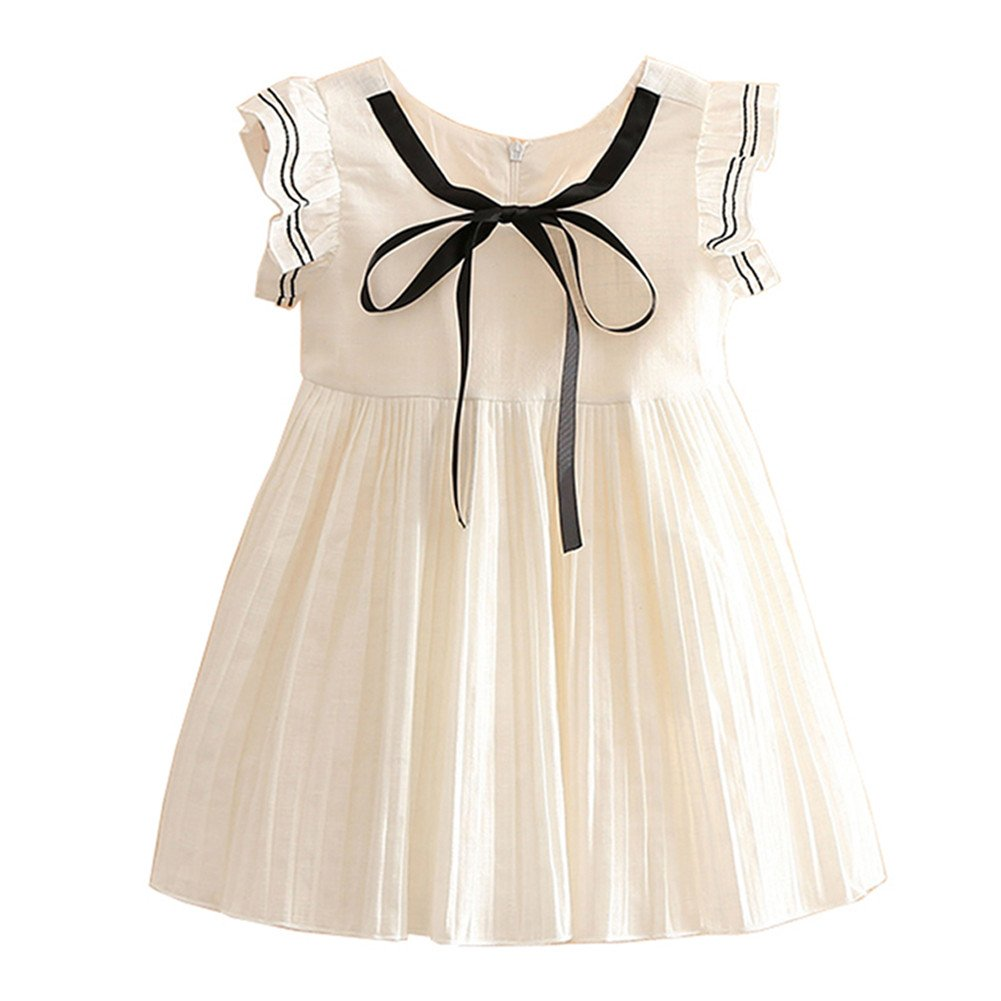 Mud Kingdom Butterfly Sleeve Preppy Girls' Dresses White S-Q0118