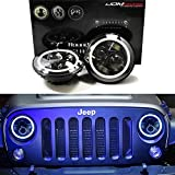 "iJDMTOY 40W 7"" Round LED Headlights w/Switchback LED Halo Rings For Jeep Wrangler, Includes (2) Black Bezel Round LED Headlight Assemblies, Fit in Many 7"" Round Shaped Headlamps"