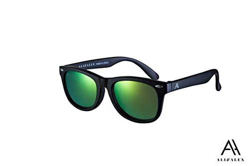 a3e9e05445c Ali Alex Kyle Classic Square frame Green Flash Mirror Polarized 100% UV  Polarized Designer Sunglasses for