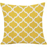 Pu Ran - Copricuscino in lino con motivo geometrico per divano, letto, arredamento per la casa Yellow