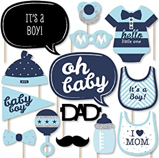 product image for Big Dot of Happiness Hello Little One - Blue and Silver - Boy Baby Shower Photo Booth Props Kit - 20 Count