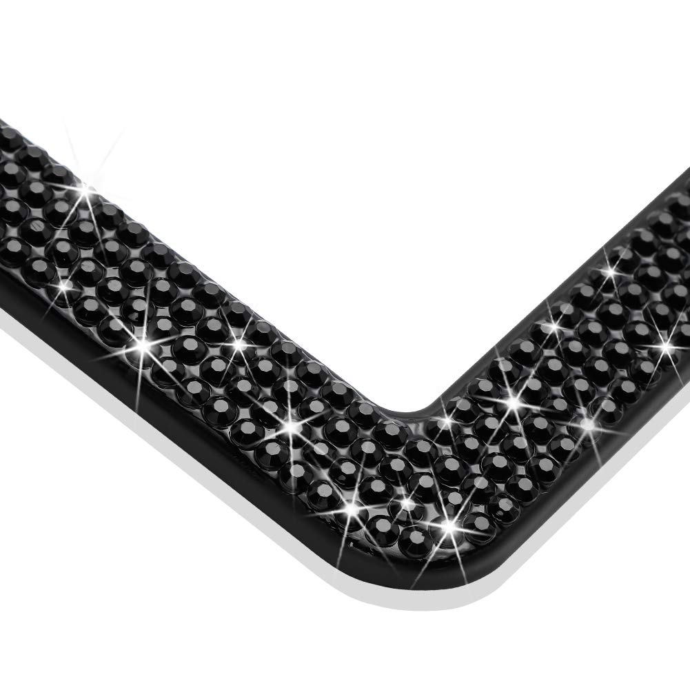 Otostar Bling Crystal Car License Plate Frame Handmade Finest 14 Facets SS20 Diamond Stainless Steel License Plate Holder Cover Silver 3 Rows 2 Holes