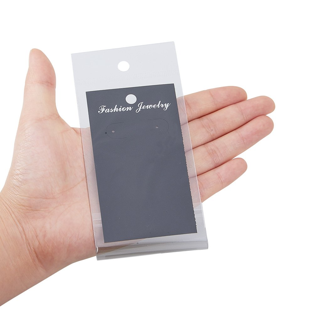 White//Black//Brown PH PandaHall 150 pcs 3 Colors 3.5x2 Inch Paper Earring Display Cards with 150 pcs Clear Self-Seal Bags Blank Card Holder Paper Tags for Earring Ear Studs Jewelry Display
