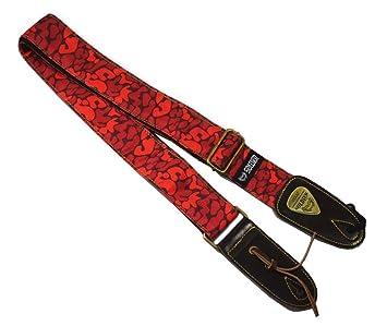 Correa de guitarra para bajo y guitarra eléctrica Modelo de camuflaje rojo