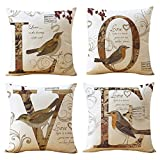 WOMHOPE 4 Pcs - 17'' LOVE Birds Vintage Style Cotton Linen Square Throw Pillow Case Decorative Cushion Cover Pillowcase Cushion Case for Sofa,Bed,Chair (LOVE Birds 4 Pcs)