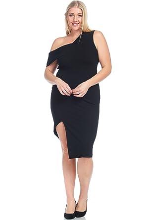 b5b392ce1f24 Hadari Women s Plus Size Sexy Fitted Asymmetric One Shoulder Solid Dress
