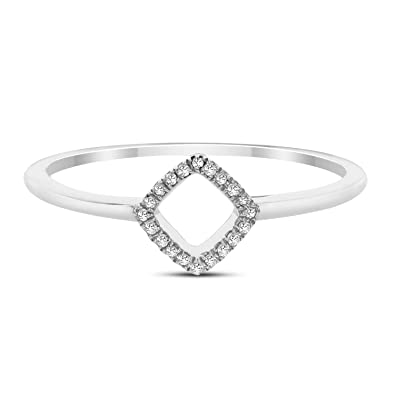 709d5a45f9add DIAMOND COUTURE 14K White Gold 0.05 Carat Square Cut Ring, Size 7, White  Gold Engagement Ring for Her, Size 7, IJ Color, I1-I2 Clarity