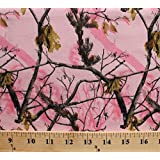 Flannel Realtree Camouflage Camo Leaves Tree Branches Pink Cotton Flannel Fabric Print (10025-pink)