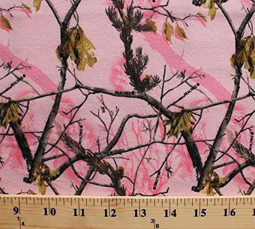 (Flannel Realtree Camouflage Camo Leaves Tree Branches Pink Cotton Flannel Fabric Print (10025-pink))