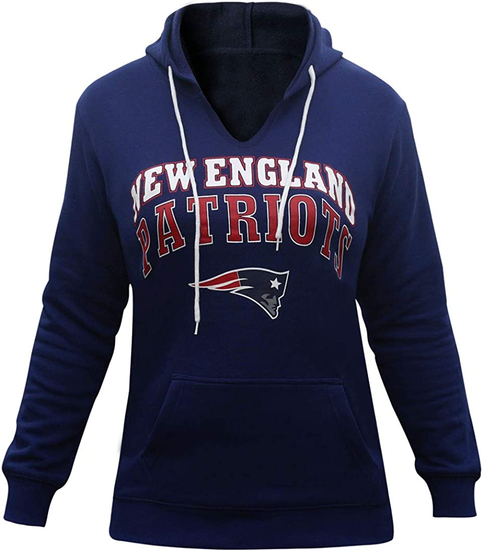 Winzonup Womens V Neck Sporty Football Patriots Sweatshirt Pullover Hoodie