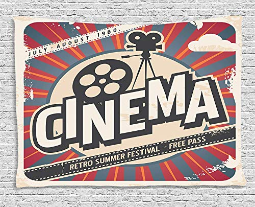 Vintage Decor Tapestry Retro Cinema Movie Vintage Paper