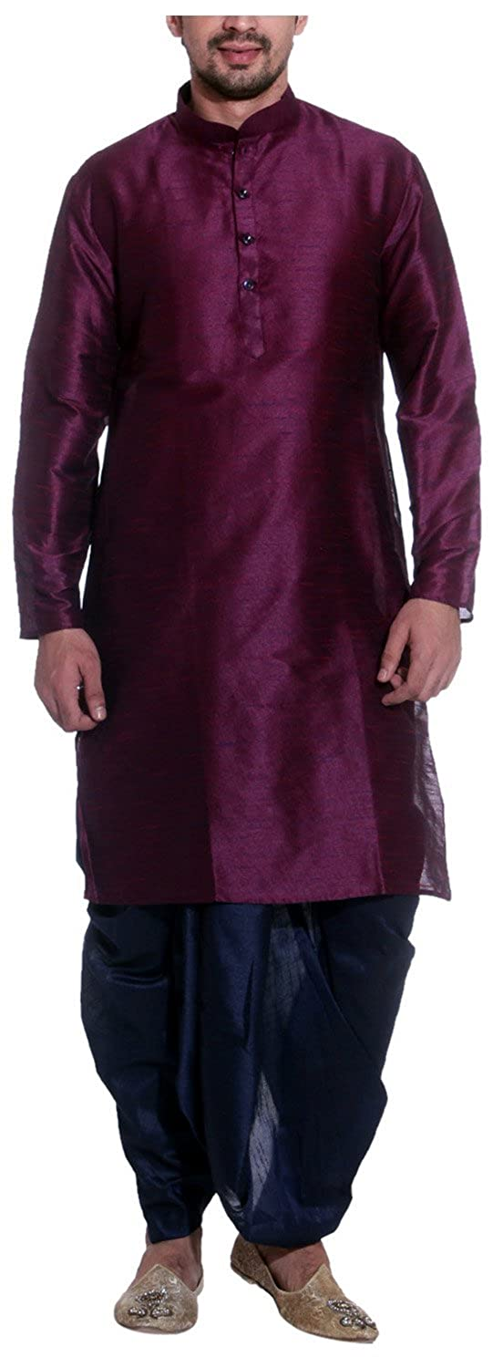 Tag 7 Men's Threadsart Silk Dhoti Kurta Royal PURPLE-NAVY-KD-38-$P