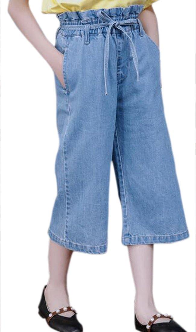 Cromoncent Girl High Rise Baggy Wide Leg Drawstring Jeans Capri Summer Shorts