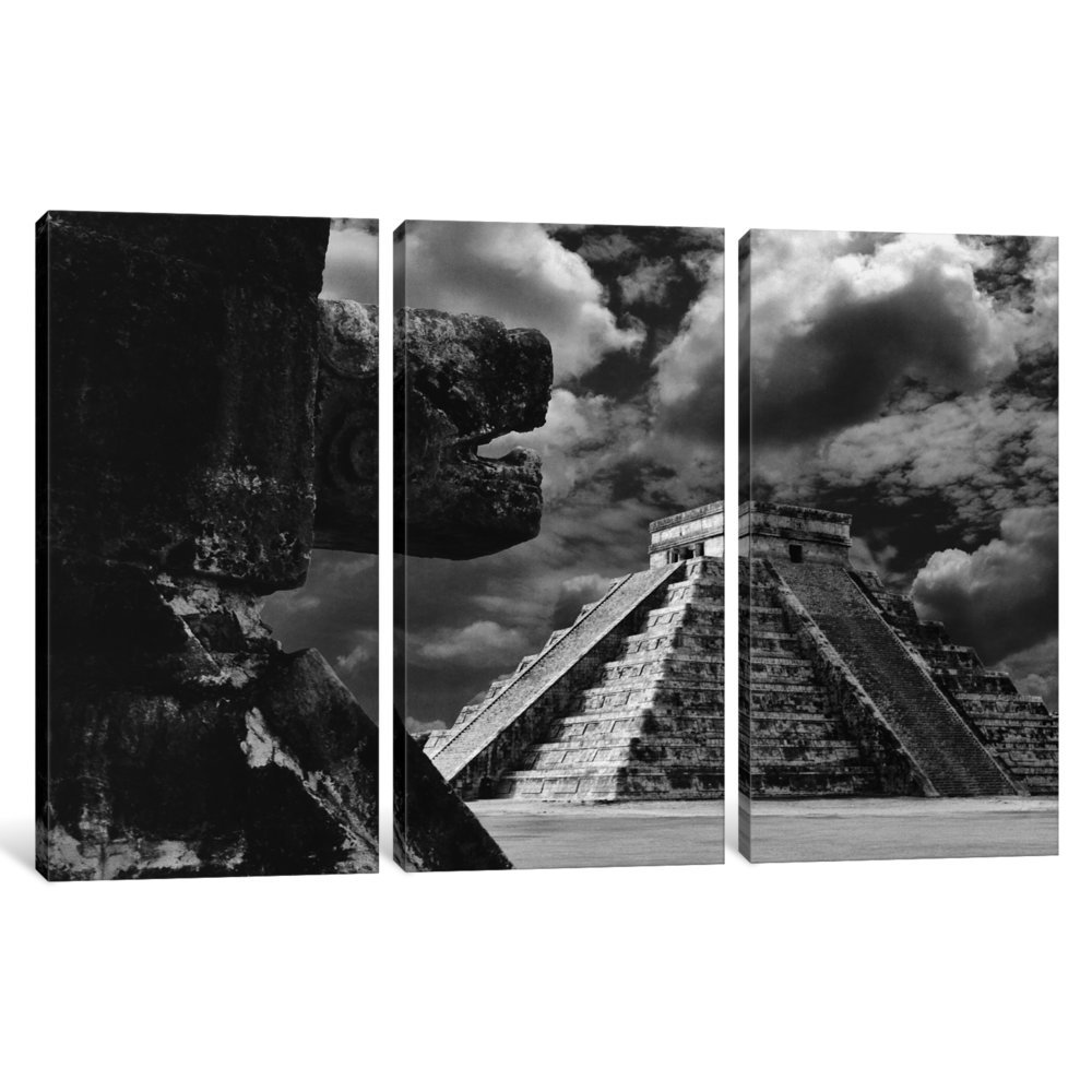 iCanvasART 3-Piece The Serpent and The Pyramid 0.75 x 60 x 40-Inch Chechinitza Mexico 02 Canvas Print by Monte Nagler