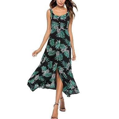 Longra Sommerkleid Damen Maxikleid Strandkleider mit Blatt Druck Damen Lang  High Waist Elastische Partykleid Maxi Kleider 3ec74e2b88