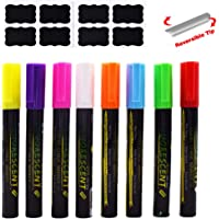 Liquid Chalk Marker for Blackboard SAYEEC Chalkboard Chalk Markers Set of 8 Reversible Bullet & Chisel Tip Assorted…