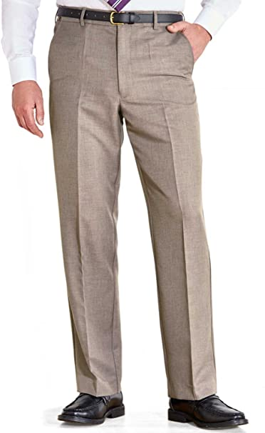 New Mens Farah Flexi Waist Stretch Straight Leg Trousers Black Blue Grey Brown