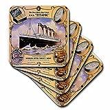 3dRose cst_149245_2 Vintage White Star Line Titanic Vinolia Otto Toilet Soap Advertising Poster Soft Coasters (Set of 8)