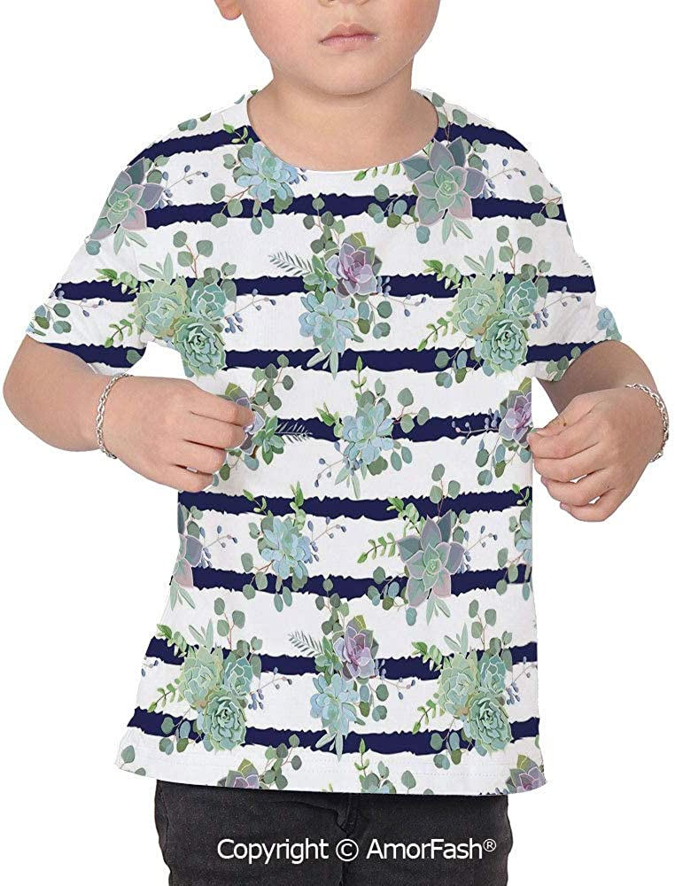 Succulent Distinctive Childrens Premium Polyester T-Shirt,XS-2XL,Natural Cactus