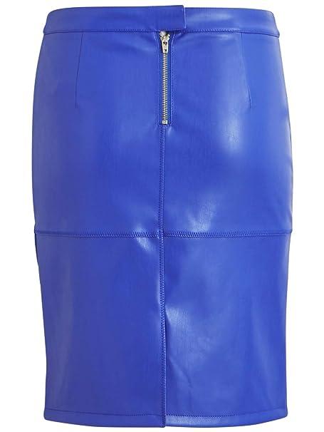 d8396f9d0b Vila Falda Tubo Efecto Piel Azul Vipen XS Azul  Amazon.es  Ropa y accesorios
