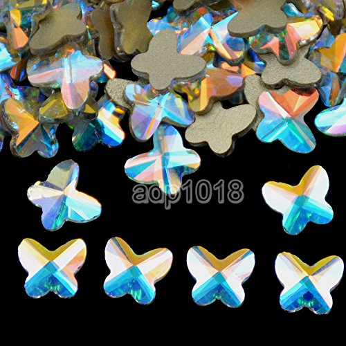AD Beads Top Czech AB Crystal Multi-Shape Flatback Rhinestone Nail Art Decoration DIY (50 Pcs, 41. Butterfly 5.5x6mm)
