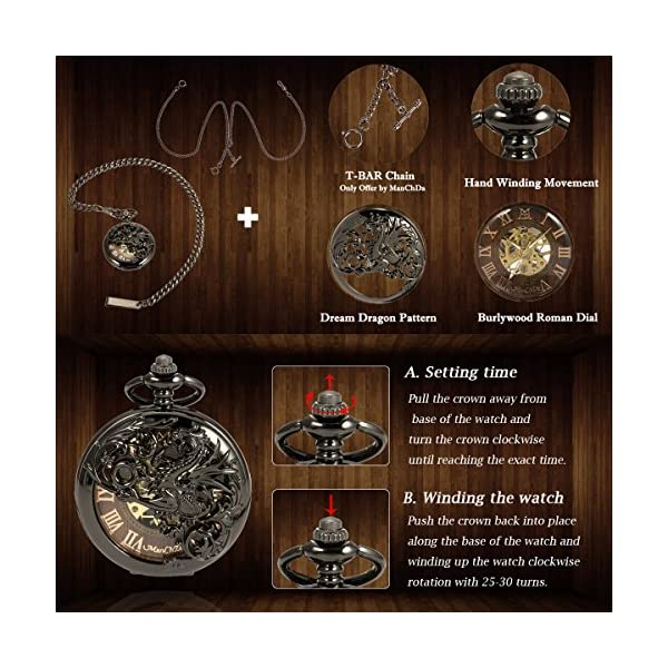 ManChDa Mens Antique Skeleton Mechanical Pocket Watch with Chain- Dragon Hollow Hunter 5
